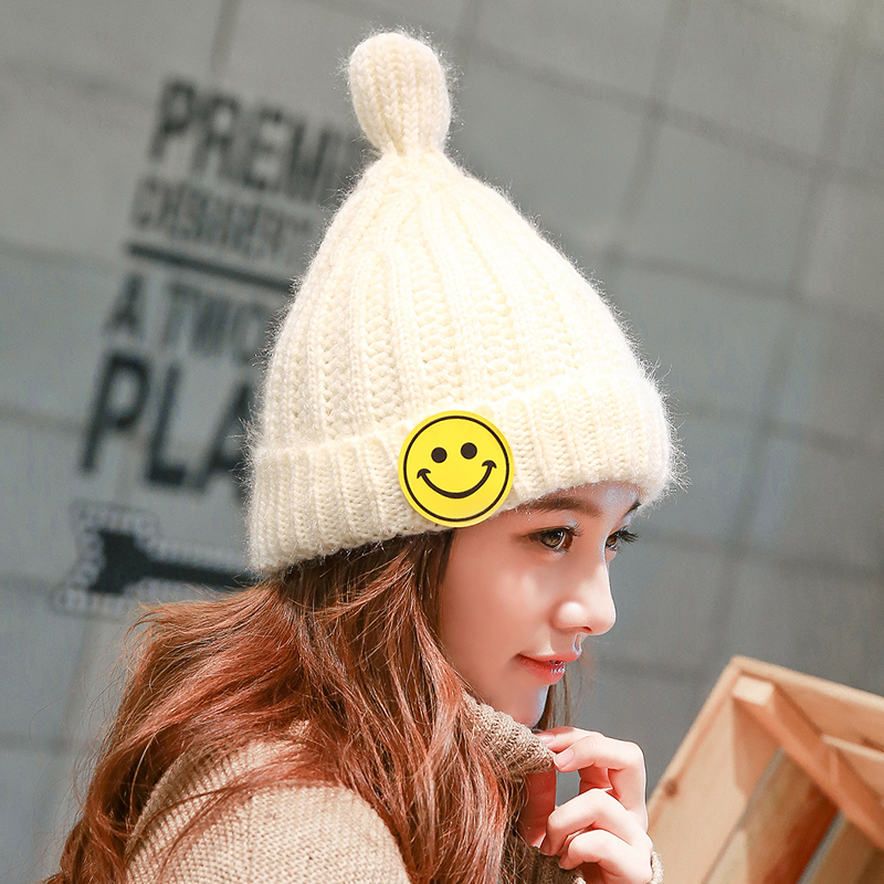Female Winter Knitted Cute Smiling Face Bun Solid Color Skullies Toboggans Beanie Gorro Fleece Lined Soft Nap Velvet Hemming HatОдежда и ак�е��уары<br><br><br>Aliexpress