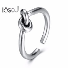 IOGOU Classic Women Men Zinc Alloy Anniversary Daily Life Rings Fashion Lover Party Knots Adjustable Trendy Male Jewelry Gifts(China)