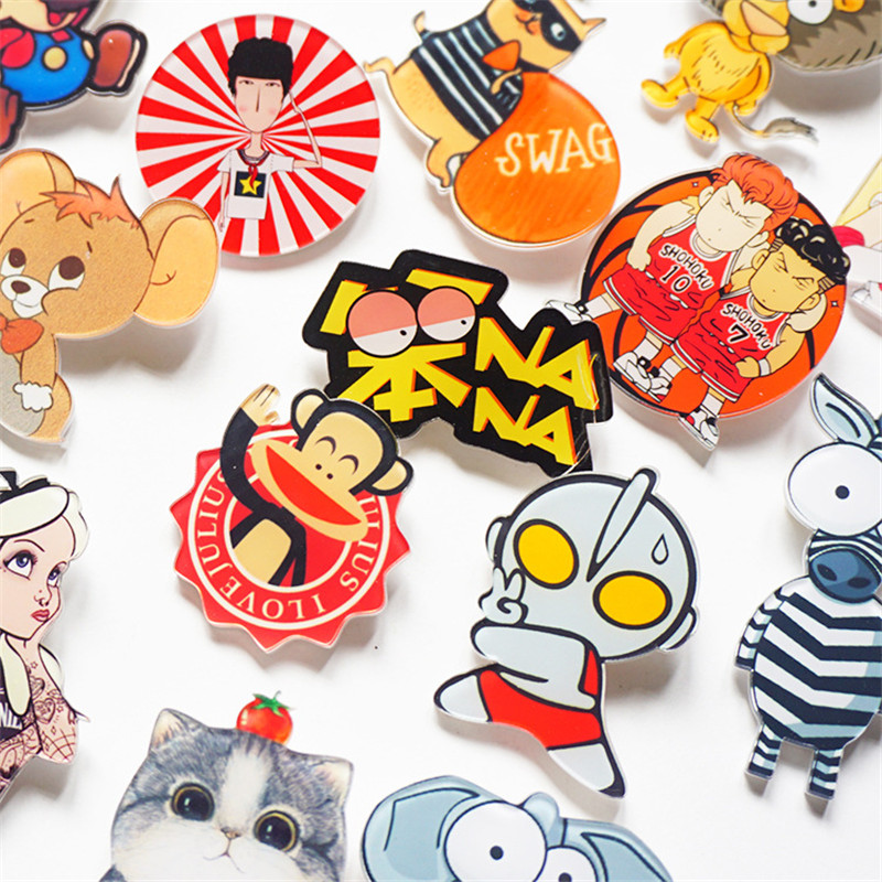 New-Cartoon-Cute-Animals-Monkey-Mouse-Cat-Acrylic-Brooch-Badges-Pin-Backpack-Clothes-Decoration-Brooches-For