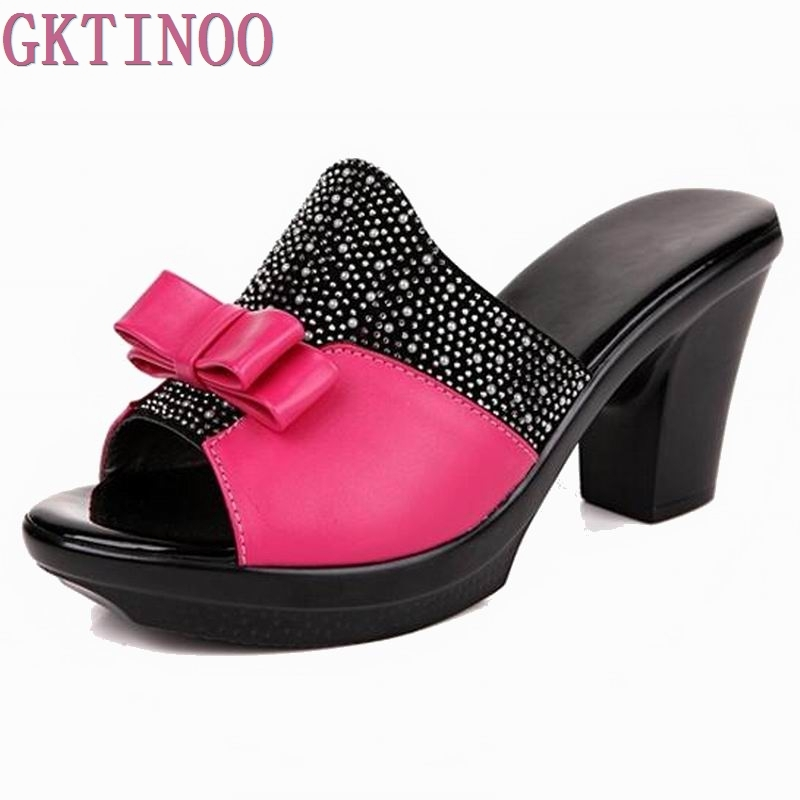 genuine leather women sandals rhinestone high heel female slippers platform anti-skid sandals women summer shoes<br>