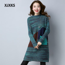 XJXKS Autumn And Winter 2017 Women Pullovers And Sweater Dress Blends Knitting High Quality Jumper Free Shipping(China)