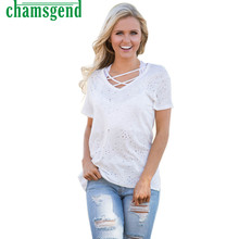 CHAMSGEND Good Deal  the Newest  Women Casual Holes Bandage Short Sleeve Shirt T-shirt Top Tank Clothes  1PC*23