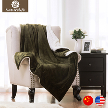 Naturelife 2017 Sherpa Blanket Olive Green Throws for bed soft fleece blankets Plane Plaids Solid Bedspreads coperta Blanket(China)