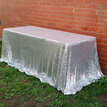 Silver Glitter Sequin Tablecloth 60x102 inches Wedding Tablecloth Square Wedding Sequin Tablecloth(China)