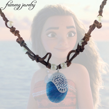 Polynesia Princess Moana Ocean Romance Rope Chain Necklaces Blue Stone Te Fiti Heart Pendants Necklace for Women Female Jewelry
