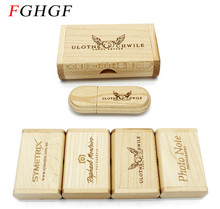FGHGF (over 10 PCS free LOGO) Creative Original Wooden usb + Box pen drive 8GB 16GB usb Flash Drive Memory Stick wedding Gift(China)