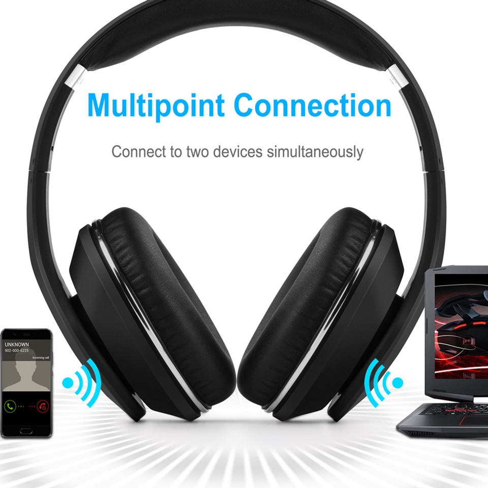 August EP640 Bluetooth Headphones for 2 Device, Blacl
