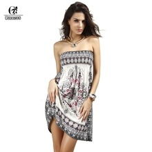 Casual Women Strapless Dresses Printing Summer Style Wrapped Chest Silk Dress Sexy Dress Extra Large Hot Sale Large Size(China)