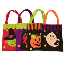 Creative Halloween Hand Bag Non Woven Collage Hand Bags Halloween Decoration Trick or Treat Bags Sacks Gift For Kids Event Party(China)