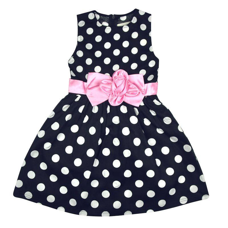 Children Kids Girls Princess Dress Sleeveless Flower Polka Dots Bowknot Dress Birthday Party Baby Girl Clothes<br><br>Aliexpress
