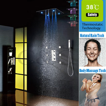 20 Inch Ultra-thin 7 Colors 100V~240V AC Spraying And Rain LED Bathroom Shower Head Luxury Thermostatic Bath Shower Faucet Set