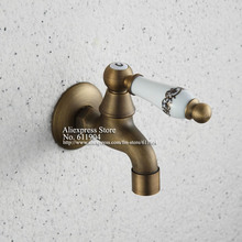 Antique Artistic Ceramic Handle Wall Mount Bathroom Kitchen Laundry Sink Faucet Tap Bibcock(China)