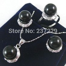 Hot sell Noble- hot sell new - Wholesale price Fast SHIPPING ^^^Fashion black new/Green * 18kgp Earrings&Ring&Necklace Pend(China)