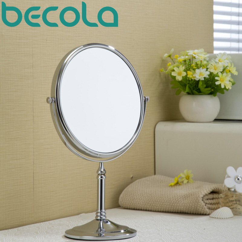 becola new design Makeup Mirror Rotating Double Faced Cosmetic Mirror Gold And Chrome Style Shaving Mirror Bath Mirror B-728C<br>