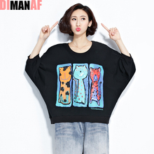 Buy Plus Size Women T-Shirt Batwing Sleeve Cartoon Printing Tumblr Tops Loose Cotton O-Neck Short Design Female Fashion Tees T-Shirt for $15.71 in AliExpress store
