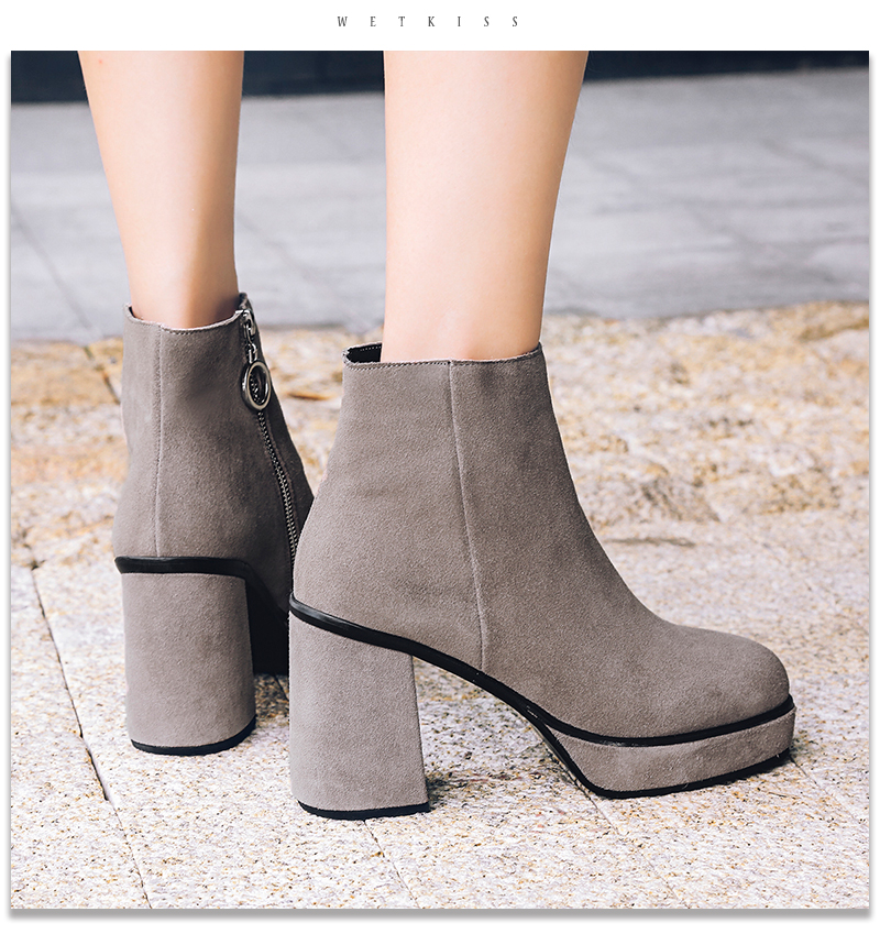 WETKISS 2018 Brand Designer Shoes Women Ankle Boots Cow Suede Thick High Heels Platform Shoes Zip Female Boot Footwear