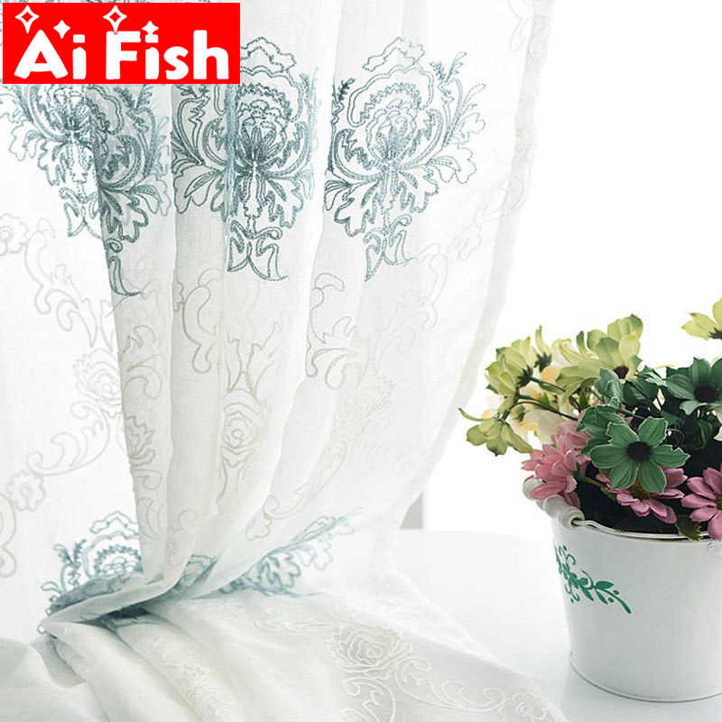 Blue Simple Embroidered Living Room Sheer Tulle European Balcony Custom-made Yarn For Bedroom Curtains Kitchen Tulle DF018-30
