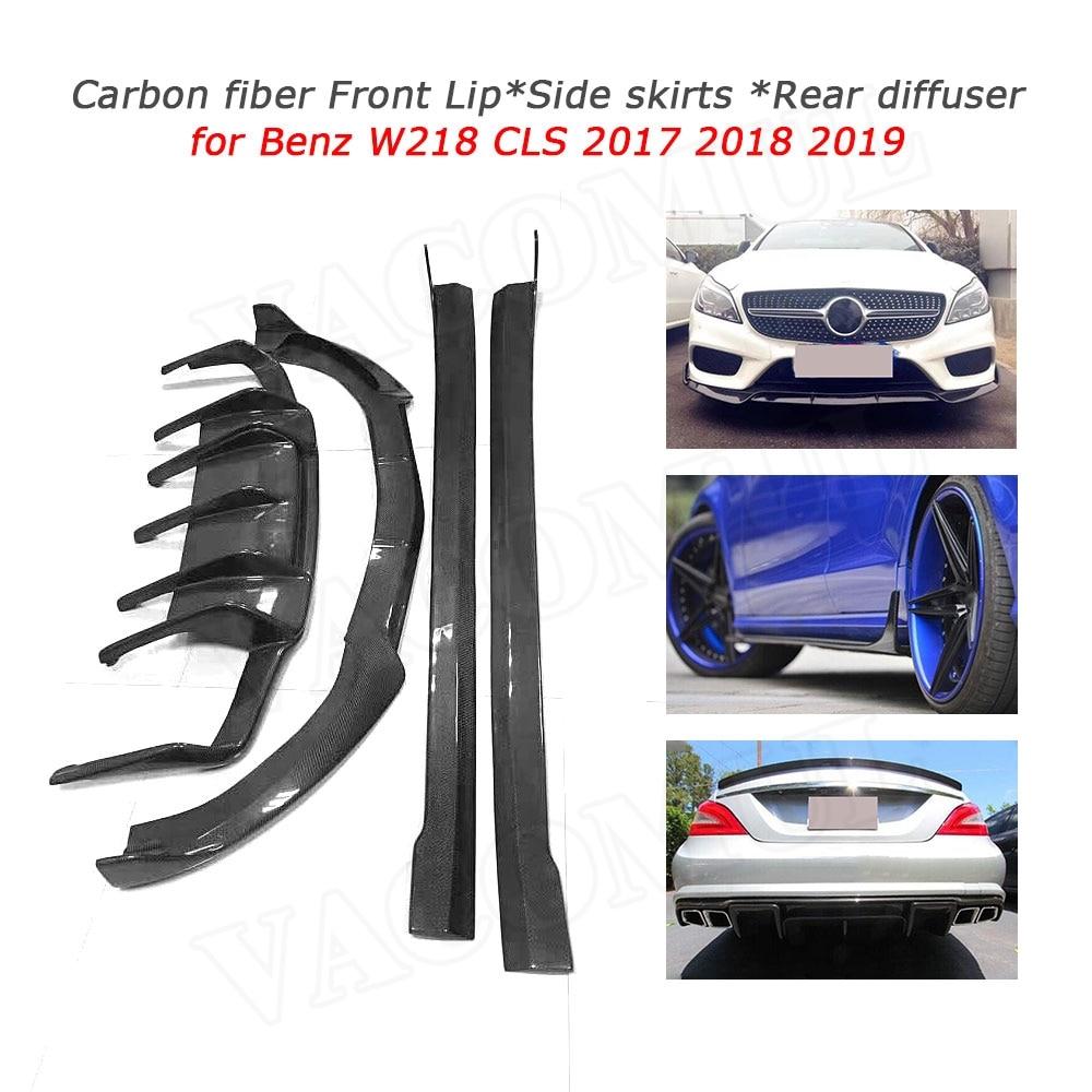 6Pcs For Mercedes Benz CLS-Class W218 15-16 Carbon Fiber Front Bumper Canards