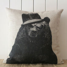 LINKWELL Brand Pillow Case Burlap Cushion Cover 18x18 inch Cool Wild Animal Black Bear Hip Hop Style for Kid Baby Room Sofa