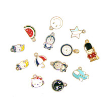 2017 New metal enamel cartoon charm series mini pendant DIY bag clothes hat cell phone decorations ornament jewelry collection
