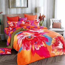 Watercolor 3D Chinese Rose Orange and Purple Bedding Set for Girls,Cotton Bed Sheets Pillowcase Quilt Cover Queen Size Bed Sets