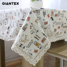 GIANTEX Cat Pattern Decorative Table Cloth Cotton Linen Lace Tablecloth Dining Table Cover For Kitchen Home Decor U1003