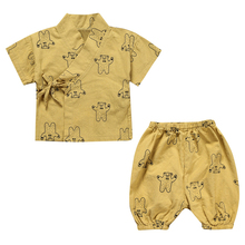2017 Baby Clothing Sets Children Cotton Summer Baby Girls Boys Monk Clothes Belt Home Service Kids Short Sleeve Tops Tee+Pants(China)