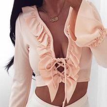 Women Solid Lace Up Ruffled Crop Top Long Flare Sleeve Sexy Kawaii V Neck Bandage Orange/Black/White Blouse Female Party Blusas