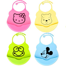 Cute Cartoon Design Baby Bibs Waterproof Silicone Feeding Baby Saliva Towel Newborn Cartoon Waterproof Aprons Baby Bibs