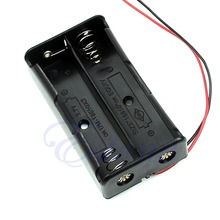 "Free Shipping New Black Plastic Storage Box Case Holder For Battery 18650 With 6"" Wire Leads 2x18650"