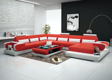 Modern genuine leather sectional sofa 0413-G8003