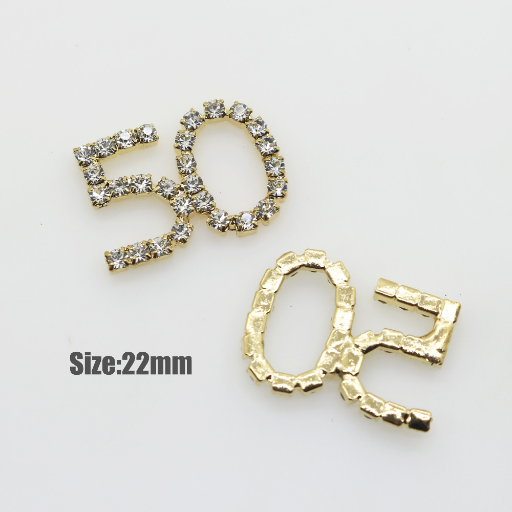 10 pcs / lot 22 mm Numbers 50 Rhinestone decoration button, fashion wedding dress accessories material(China)