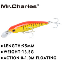Mr.Charles CMC021 Fishing Lure 95mm/13.5g 0-1.0m Floating Super Sinking Minnow Magnet system hot model crank bait(China)