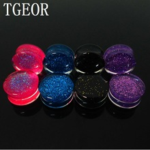 Retail ear expander Hot charm 1 pair mixed gauges inner glitter UV acrylc saddle piercing ear plugs