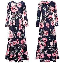 New Women Bohemian Dress Vintage Floral Print Autumn Casual Long Sleeve Plus Size Maxi Dress Clothing