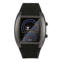 Fashion Aviation Turbo Dial Flash LED Watch Gift Mens Lady Sports Car Meter Digital Men's watch Rubber Clock men relojes hombre