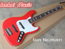 Hot Sale Custom 5-String Bass Guitar with Red Body,White Pickguard,Active Circuit,Maple Neck,Rosewood Fretboardcan be Customized