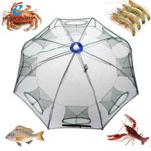 Nylon Fishing Net Portable Hexagon 8 Hole Automatic Fishing Shrimp Trap Net Fish Minnow Crab Baits Cast Mesh Net 93 * 93cm