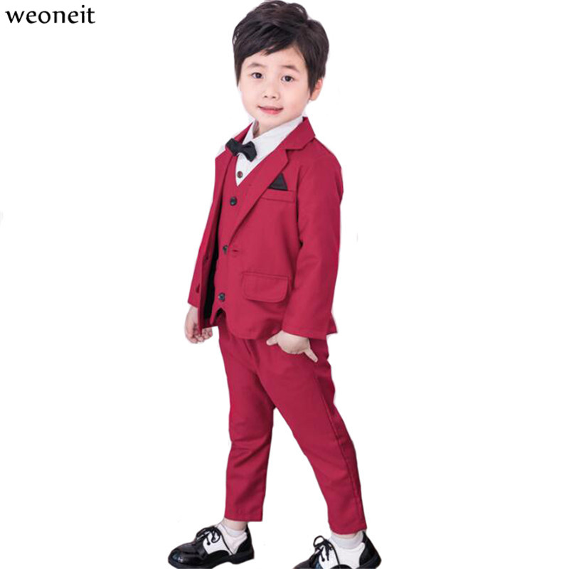 Weoneit Baby Boys Suits Costume for Boy 2019 Spring Single Breasted Kids Blazers Boy Suit Formal Wedding Wear Children Clothing