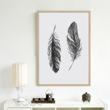 Watercolor Black Feather Canvas Art Print Poster, Wall Pictures for Home Decoration, Giclee Wall Decor S16053