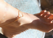 Gold Anklet - Gold Circle on Double gold filled Chain. eternity ankle bracelet