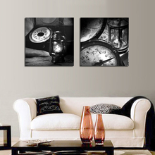 Set of 2 Piece Unframed Classic Oil lamp Old Clock Canvas Spray Painting Home Wall Decor Canvas Printing Picture Art