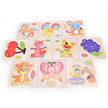 Colorful Children Kid Wooden Animals Cartoon Picture Puzzle Train Newborn Early Education Random Style(China)