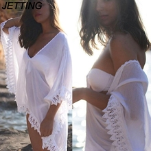 JETTING 1 x Bikini Swimwear Cover Up Women Sexy Beach Wear Chiffon Lace Crochet Swimming Cover Up White Color(China)