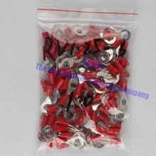RV1.25-6 Red 22-16 AWG 0.5-1.5mm2 Insulated Ring Terminal Connector Cable Wire Connector 100PCS/Pack RV1-6 RV