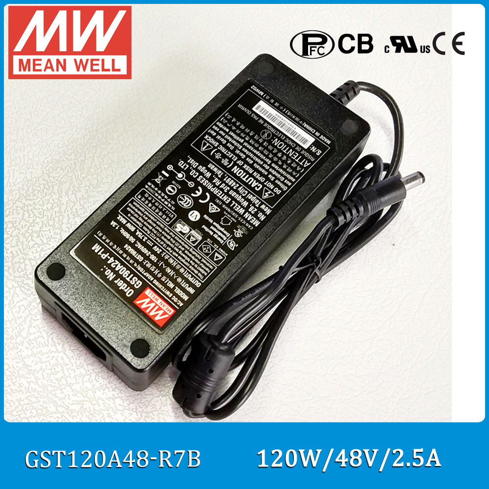 Original Meanwell GST120A48-R7B 120W 48V 2.5A AC/DC Level VI Mean well desktop Adaptor with PFC <br>