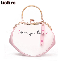 tisfire brand cute heart shaped bag ulzzang luxury designer evening party bags fashion printing hand bag chain messenger bags