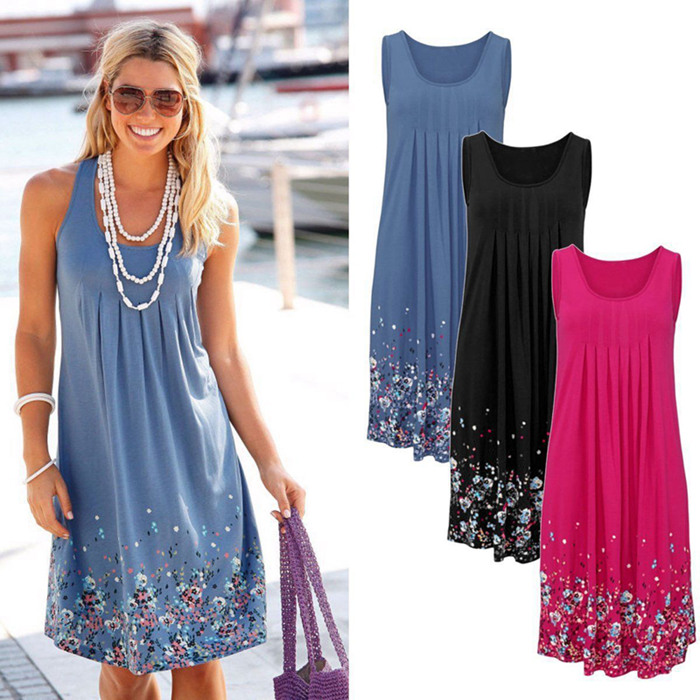 Sleeveless Floral Print Loose Beach Summer Dress Fashion Six Colors Casual Women Dress 19 Sexy Dress Plus Size S-5XL 2