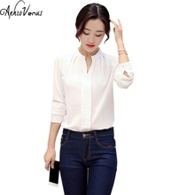 Buy 2016 Womens Long Sleeve White Chiffon Blouse Shirt Ladies Green Pink White Elegant Sexy V-Neck Blouses Female Office Plus Size for $6.08 in AliExpress store