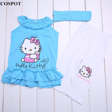 Baby Girls Summer Suits Girl's Headband+Dress+Pants Cotton Clothing 3pcs Sets Girl Summer Suit 2-8 Yrs 2017 New D11